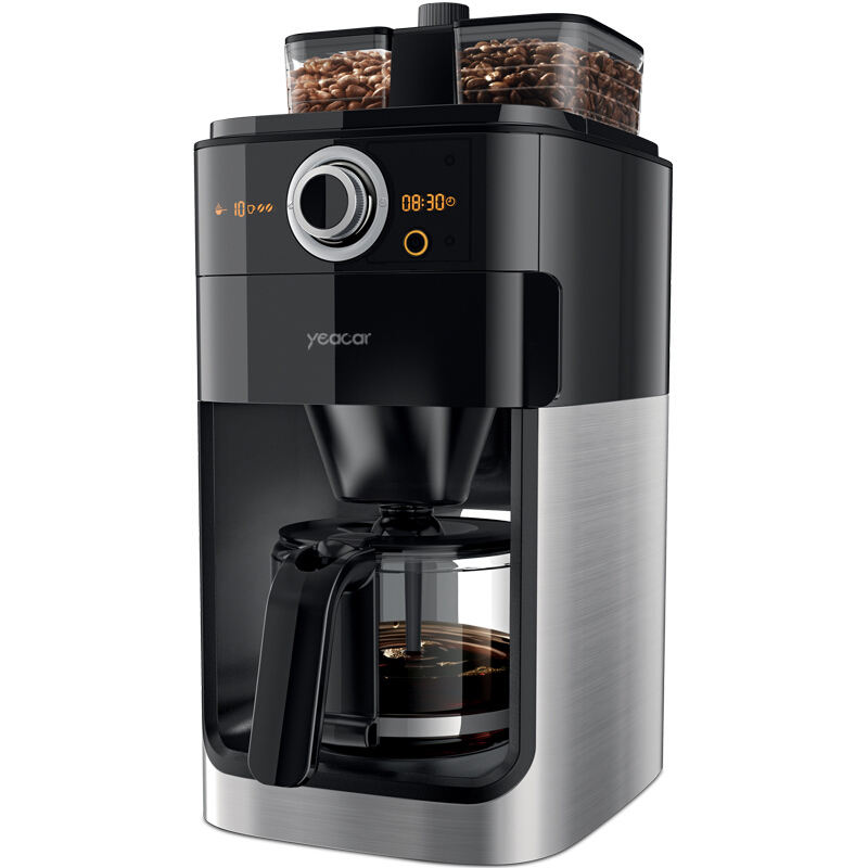 yeacar Coffee machine,  Household automatic double bean groove grinding reservation function